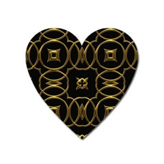 Black And Gold Pattern Elegant Geometric Design Heart Magnet