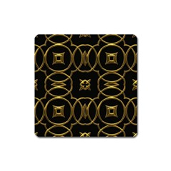 Black And Gold Pattern Elegant Geometric Design Square Magnet