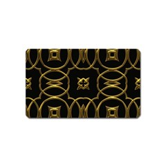 Black And Gold Pattern Elegant Geometric Design Magnet (Name Card)