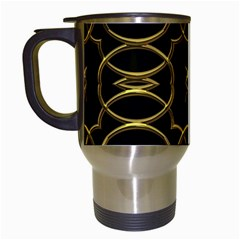 Black And Gold Pattern Elegant Geometric Design Travel Mugs (White)