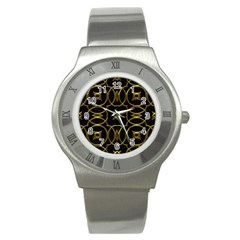 Black And Gold Pattern Elegant Geometric Design Stainless Steel Watch