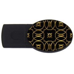 Black And Gold Pattern Elegant Geometric Design USB Flash Drive Oval (4 GB)