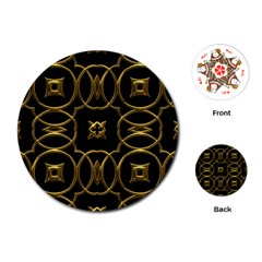 Black And Gold Pattern Elegant Geometric Design Playing Cards (Round)