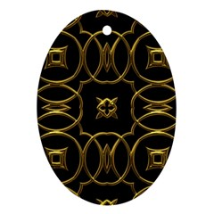 Black And Gold Pattern Elegant Geometric Design Oval Ornament (Two Sides)