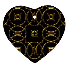 Black And Gold Pattern Elegant Geometric Design Heart Ornament (Two Sides)