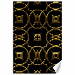 Black And Gold Pattern Elegant Geometric Design Canvas 24  x 36