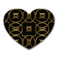 Black And Gold Pattern Elegant Geometric Design Heart Mousepads