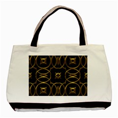 Black And Gold Pattern Elegant Geometric Design Basic Tote Bag (Two Sides)