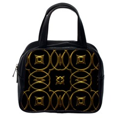 Black And Gold Pattern Elegant Geometric Design Classic Handbags (One Side)