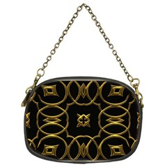 Black And Gold Pattern Elegant Geometric Design Chain Purses (One Side)
