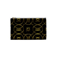 Black And Gold Pattern Elegant Geometric Design Cosmetic Bag (Small)