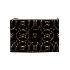 Black And Gold Pattern Elegant Geometric Design Cosmetic Bag (Medium)