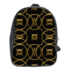 Black And Gold Pattern Elegant Geometric Design School Bags(Large)