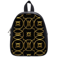 Black And Gold Pattern Elegant Geometric Design School Bags (Small)