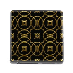 Black And Gold Pattern Elegant Geometric Design Memory Card Reader (Square)