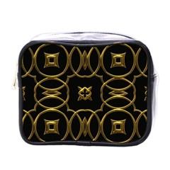 Black And Gold Pattern Elegant Geometric Design Mini Toiletries Bags