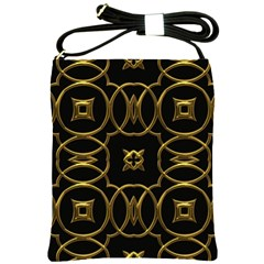 Black And Gold Pattern Elegant Geometric Design Shoulder Sling Bags