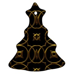 Black And Gold Pattern Elegant Geometric Design Christmas Tree Ornament (Two Sides)