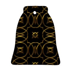 Black And Gold Pattern Elegant Geometric Design Bell Ornament (Two Sides)