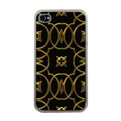 Black And Gold Pattern Elegant Geometric Design Apple iPhone 4 Case (Clear)
