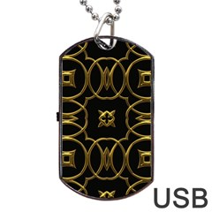 Black And Gold Pattern Elegant Geometric Design Dog Tag USB Flash (One Side)