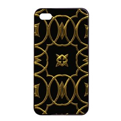 Black And Gold Pattern Elegant Geometric Design Apple iPhone 4/4s Seamless Case (Black)