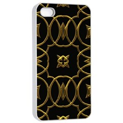 Black And Gold Pattern Elegant Geometric Design Apple iPhone 4/4s Seamless Case (White)