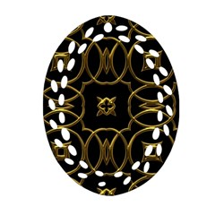 Black And Gold Pattern Elegant Geometric Design Oval Filigree Ornament (Two Sides)