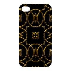 Black And Gold Pattern Elegant Geometric Design Apple iPhone 4/4S Hardshell Case