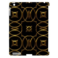 Black And Gold Pattern Elegant Geometric Design Apple iPad 3/4 Hardshell Case (Compatible with Smart Cover)