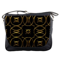 Black And Gold Pattern Elegant Geometric Design Messenger Bags