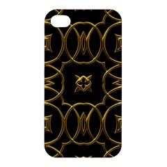 Black And Gold Pattern Elegant Geometric Design Apple iPhone 4/4S Premium Hardshell Case