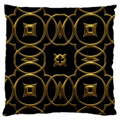 Black And Gold Pattern Elegant Geometric Design Large Cushion Case (One Side)