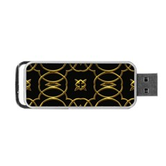 Black And Gold Pattern Elegant Geometric Design Portable USB Flash (Two Sides)