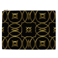 Black And Gold Pattern Elegant Geometric Design Cosmetic Bag (XXL)