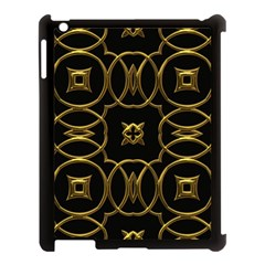 Black And Gold Pattern Elegant Geometric Design Apple iPad 3/4 Case (Black)