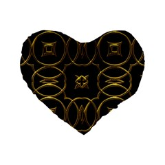 Black And Gold Pattern Elegant Geometric Design Standard 16  Premium Heart Shape Cushions