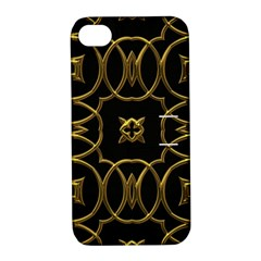 Black And Gold Pattern Elegant Geometric Design Apple iPhone 4/4S Hardshell Case with Stand