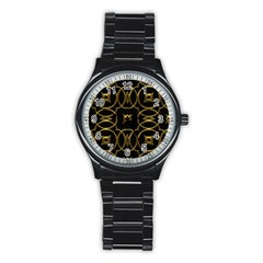 Black And Gold Pattern Elegant Geometric Design Stainless Steel Round Watch