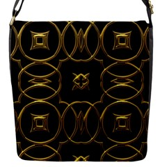 Black And Gold Pattern Elegant Geometric Design Flap Messenger Bag (S)