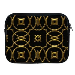 Black And Gold Pattern Elegant Geometric Design Apple iPad 2/3/4 Zipper Cases