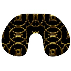 Black And Gold Pattern Elegant Geometric Design Travel Neck Pillows