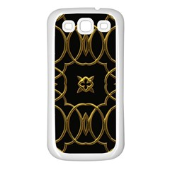Black And Gold Pattern Elegant Geometric Design Samsung Galaxy S3 Back Case (White)