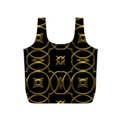 Black And Gold Pattern Elegant Geometric Design Full Print Recycle Bags (S)