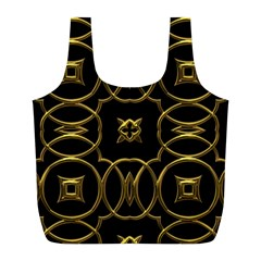 Black And Gold Pattern Elegant Geometric Design Full Print Recycle Bags (L)