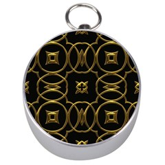 Black And Gold Pattern Elegant Geometric Design Silver Compasses