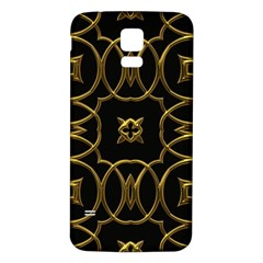 Black And Gold Pattern Elegant Geometric Design Samsung Galaxy S5 Back Case (White)