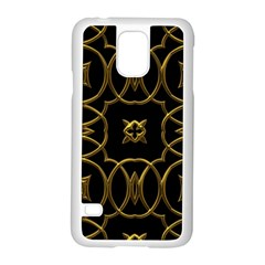 Black And Gold Pattern Elegant Geometric Design Samsung Galaxy S5 Case (White)