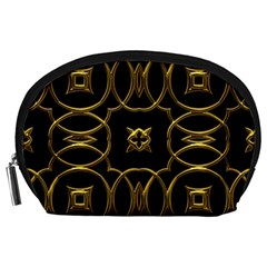 Black And Gold Pattern Elegant Geometric Design Accessory Pouches (Large)