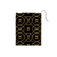 Black And Gold Pattern Elegant Geometric Design Drawstring Pouches (Small)